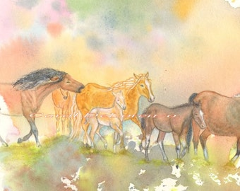 Watercolor Painting 8x10 Horse Art, Horse Painting, Horse Watercolor,  Equine Art, Wild Horses, Horse Art Print Titled Move Along