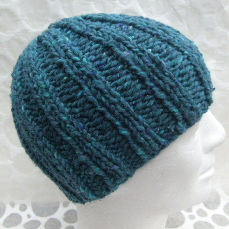 Knitting Pattern For Beanie : KNITTING PATTERN/RUSTICO Mans Knit Beanie Chunky by RomeoRomeo