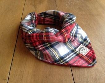 Bandana Bib- Flannel- Baby Bib- Plaid with Red Cotton Backing- Handmade- Baby Boy Gifts