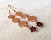 Stars Chime Copper Earrings Long Coins Red Jasper Earrings Handmade Jewelry San Diego California USA Go2Girl Designs by Kila Rohner