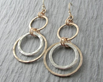 Gold Dangle Earrings Silver And Gold Earrings Circle Earrings Mixed Metal Earrings Dangle Circle Earrings Gift For Her