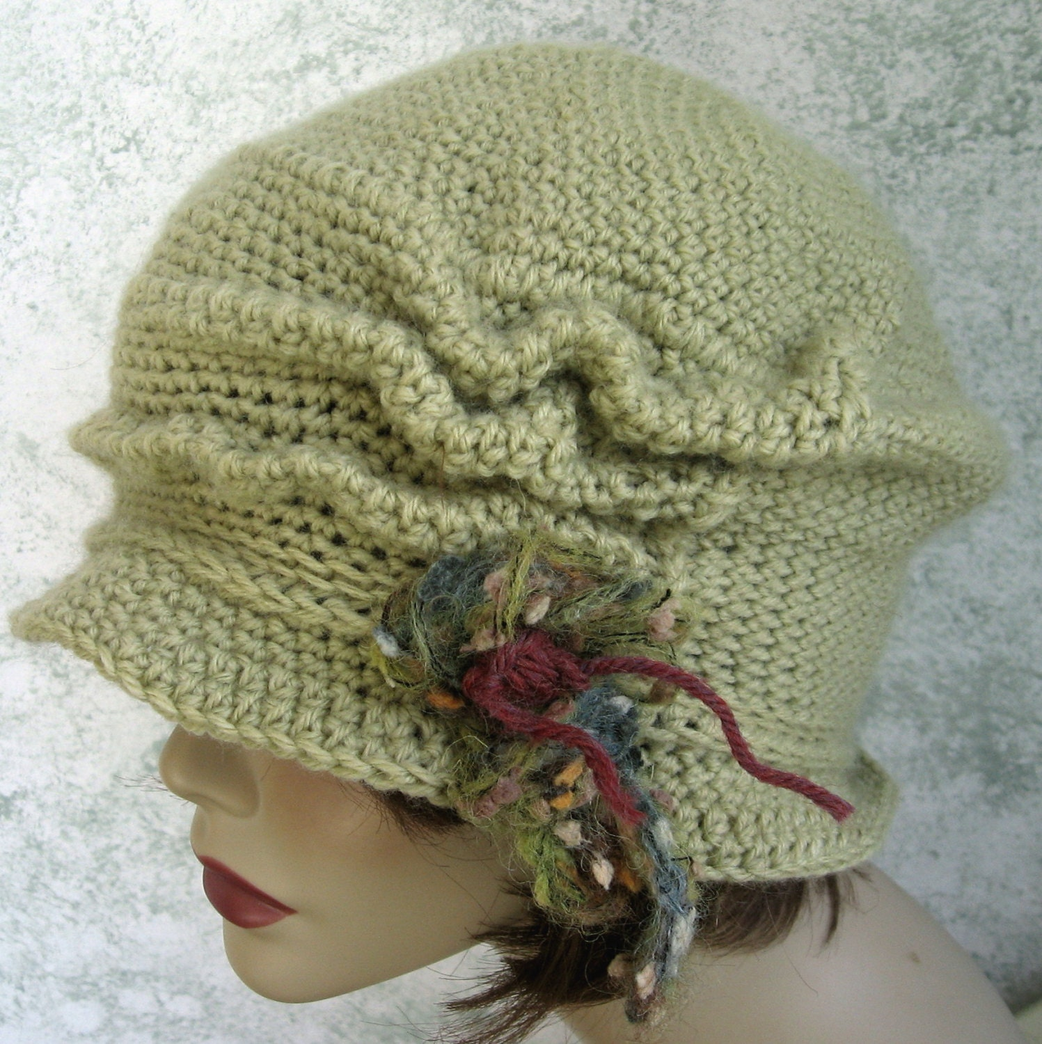 Crochet Pattern Womens Hat : Crochet Pattern Womens FLapper Hat Brimmed With Free Form Trim