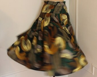 vintage 1980s Foliage and Figs full circle skirt - autumn hues, rockabilly, swing, cotton, boho chic - size small to medium