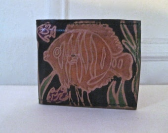 flounder, vintage 1980s black leather bifold wallet - hand tooled & painted, made in India - oceanic, tropical fish, marine, scuba, India