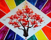 The Healing Tree Original Oil Painting, chakra, energy, yoga, rainbow, om