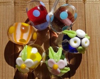 Colorful Mixed Bead Set----Handmade LAMPWORK Beads