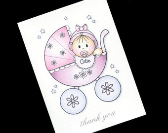 Baby Shower Thank You Cards - Blank Note Cards - Baby Girl In Buggy - Pink - Thank You Note