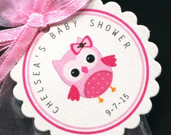 Personalized Baby Girl Baby Shower Favor Tags - Baby Shower Favor Tags - Baby Girl Shower - Favor Tags - Owl Baby Shower - Pink Owl - 25