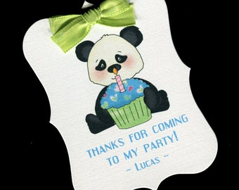 Boys Birthday Party Favor Tags - Birthday Party Tags - Boys BIrthday Tags - First Birthday - Personalized Tags - Panda Bear - Cupcake - 20