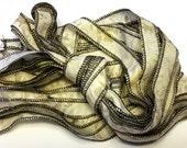 Ivory Dewdrops Neutral Tones  - Hand Painted Artist Dyed Silk Batik Ribbon Strings - OOAK  - FireandFibers Beads Serged Sewn