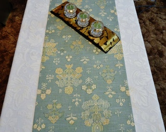 "Table Runner - Light Blue with Mini Floral Pattern - 62-1/2"" x 14-1/2"" - Item TR514600"