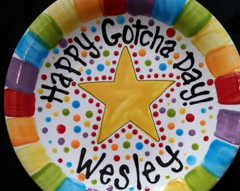 Happy Gotcha Day Plate - Colorful Personalized 10 Inch Ceramic Gotcha Day Plate