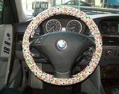 SALE Black Floral Steering Wheel Cover