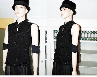 Vintage 90s Black Beaded Top Blouse Shirt Tunic minimalist Trophy wife keyhole neckline nehru metallic gothic boho party Asian inspired
