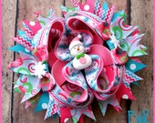 Boutique Pink and Blue Snowman Hair bow