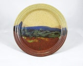 Pottery Dinner Plate in Landscape Design - Tan, Brown, Blue, and Green
