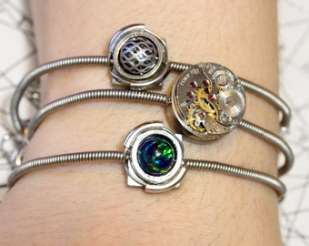 Cyber-steampunk - 3 Bracelets - Silver tone with black fire opal