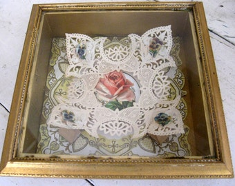Embossed Roses Victorian Card Framed in Shadow Box
