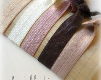 Hair Tie - Ponytail Bun Holders - Elastics - Set of 5 - Earth Tones - Brown Pink Cream Beige  - Essential Collection