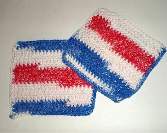 Crochet Dish Cloths - Festive 4TH Of July Dish Cloths - Red White and Blue Dish Rags - Set of 2 Dish Cloths - Patriotic Dish Cloths - set 2