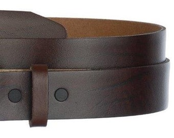 "Narrow Brown Leather Belt- Snap On Strap- Oil Tanned- US Made- Mens Womens- 1 1/4"" -32 34 36 38 39 40 42 44 46 48 50 52 54- 25+ STYLES AVAIL"