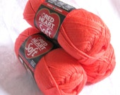 Red Heart Soft yarn, CORAL yarn,  medium worsted weight soft acrylic yarn