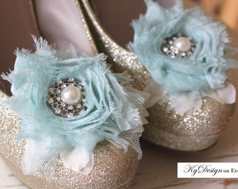 Cyan blue and Ivory, chiffon shoe clips with pearl/rhinestone center