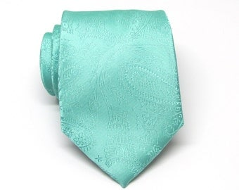 Mens Tie - Mint Green Paisley Silk Necktie With Matching Pocket Square Option