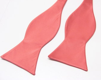 Mens Bowtie. Freestyle Coral Bowties. Coral Bow tie With Matching Pocket Square Option