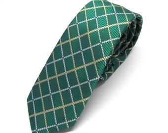 Mens Ties. Green Tie. Green Gold Plaid Skinny Neck tie.