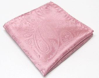 Pocket Squares Silk Dusty Pink Paisley Hankies