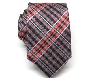 Mens Tie. Red and Black Plaid Men's Ties