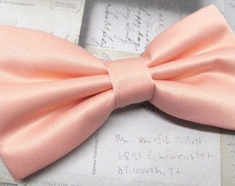 Mens Bowtie. Light Peach Bowtie With Matching Pocket Square Option