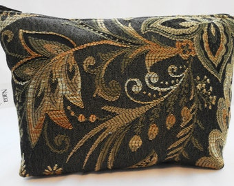 Zipper Pouch Cosmetic Bag - Brown Swirl
