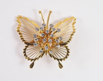 Monet Rhinestone and Whire Butterfly Brooch Vintage 70s Jewelry