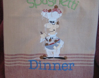 Kitchen Tea Stained Towel with Spaghetti Chef
