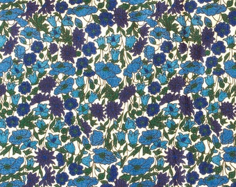 "Classic Liberty London Tana Lawn, ""Petal & Bud"" Fat Eight Dark Blues .Summer Floral Crafts,Cottage Chic Style,Patchwork Quilting"