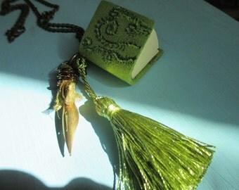 Mini Moss Fern art book necklace woodland green moss fern art mini journal