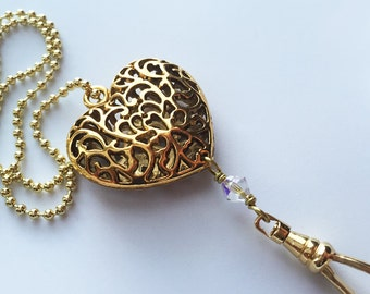 Gold Heart Lanyard Necklace with Swivel Clip