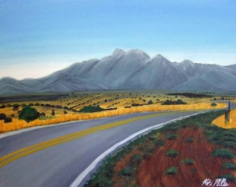 "Desert Road Mountain Landscape Original Painting 16"" x 20"" Acrylic on Canvas Fort Huachuca Arizona Clear Blue Sky Southwestern Art"