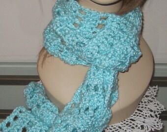 SALE Mint Crochet Homespun Scarf