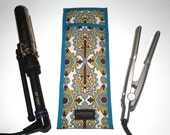 LIMITED - Flat Iron Case/Curling Iron Travel Cover, Elizabeth Damask Print, Teal/Green/White