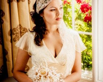 SALE- Bridal beaded cap veil tied cap veil ADELLE - vintage wedding