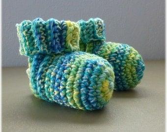 Crochet Slipper Socks Booties Mixed Colors  Size 6 7
