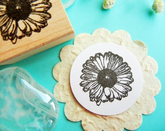 Gerbera Daisy Rubber Stamp  - Handmade by BlossomStamps