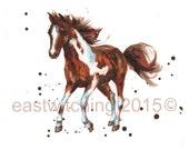 HORSE Print, SMALL, 5x7 print, cabin decor, ready to frame, HORSE