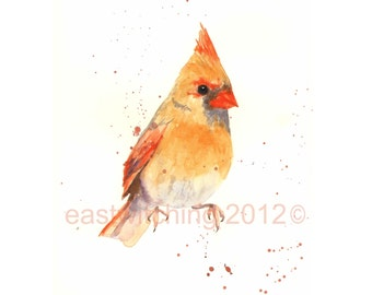 Watercolor CARDINAL print, cardinal painting, 8x10 print, watercolour, ready to frame, bird lover gift