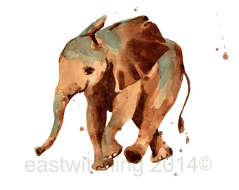 Watercolor ELEPHANT print, safari nursery print, 8x10 print, ready to frame, kids wall art