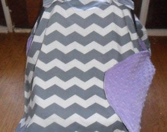 Gray Chevron and Lavender Minky Dot Car Seat Carseat Canopy Cover MINKY COLOR CHOICE