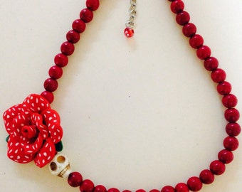 Day of the Dead -Red- Valentine-Statement Necklace All Gemstones- Where Every Design Tells A Story-